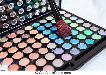palet, schoonheidsmiddel, veelkleurig, akeup, borstel, open