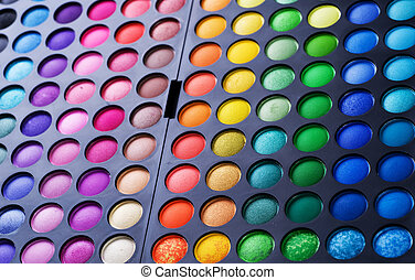 palet, set., oogschaduw, veelkleurig, make-up, professioneel