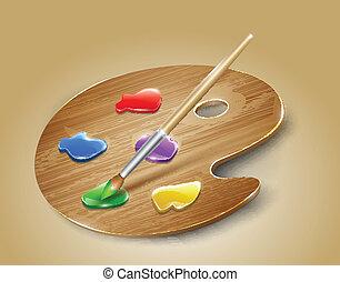 paleta, arte, madeira, tintas, vetorial, brush.