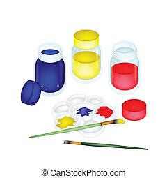 paleta, artysta farbują, szczotki, malować, słoje