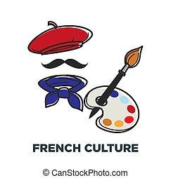 paleta, boina, francia francesa, símbolos, cultura, pañuelo,...