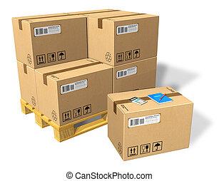 paleta, cajas, cartón