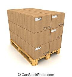 paleta, cajas, cartón, fondo blanco