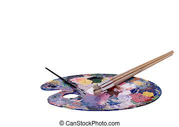 paleta, cepillos, artista