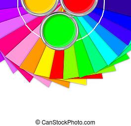 paleta, colores, amarillo, aislado, pintura, brillante, lata, blanco, abierto, estaño