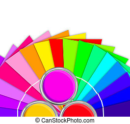 paleta, colores, amarillo, aislado, pintura, brillante, lata, plano de fondo, blanco, abierto, estaño