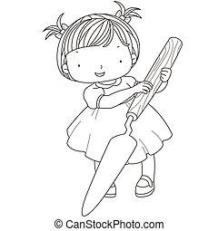 paleta, colorido, niña, ilustración, cuchillo