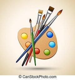 paleta, com, pintar escovas