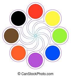 paleta, cor, cores, oito, básico, redondo
