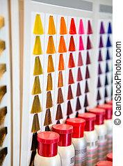 paleta, cor, sombras, salão, cabelo tingido, hairdressing