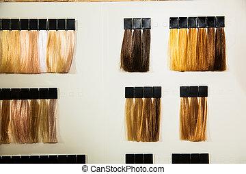 paleta, de, diferente, cores, para, cabelo, dye.