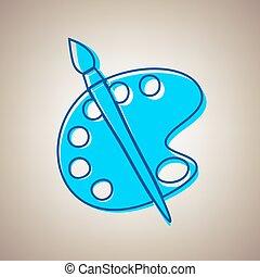 paleta, e, escova, sinal., vector., céu azul, ícone, com, defected, azul, contorno, ligado, bege, experiência.