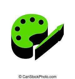 paleta, e, pintar escova, sinal., vector., verde, 3d, ícone, com, pretas, s