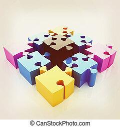 paleta, illustration., elements., vindima, quebra-cabeça, -, quatro, imagem, cmyk., conceitual, style., 3d