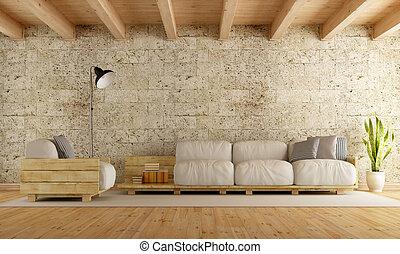 paleta, moderno, sofá, vida, wth, habitación