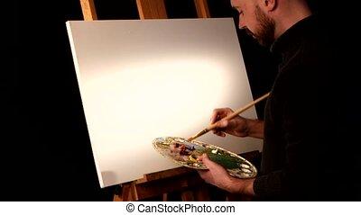 paleta, nafta, jego, lekki, nazad ręka, tło, czarnoskóry, dzierżawa, malatura, sztaluga, nowy, początkowy, rysunek, malarz, malarstwo