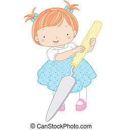 paleta, niña, ilustración, cuchillo