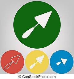 paleta, signo., vector., 4, blanco, estilos, de, icono, en, 4, coloreado, círculos, en, gris ligero, fondo.