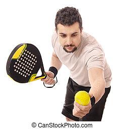 paleta, tenis, serve.