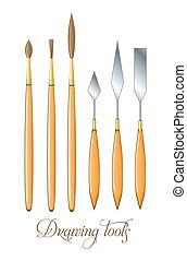 paleta, tools., conjunto, cepillos, vector, knife., dibujo