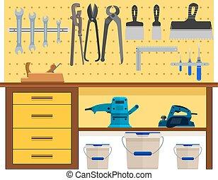 paleta, trabajando, tenazas, cepilladora, tabla, llave inglesa, tijeras, cuchillo