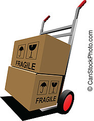 paleta, truck., cajas, vector, mano