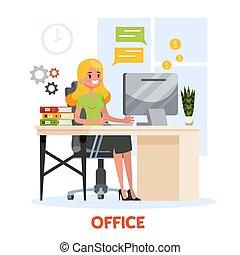 paleto, escrivaninha, mulher, trabalhando, sentando