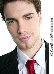 paleto, jovem, homem negócios, laço, retrato, bonito