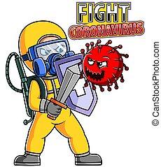 paleto, luta, pessoas, ou, protetor, corona, roupa, vírus