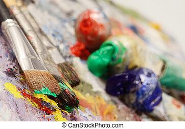 paletta, olaj, fest, Söpör, művészi, színpompás, koszos