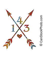 palette, 143, artiste, tribal, signe, flèche