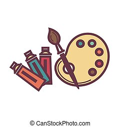Palette and brush