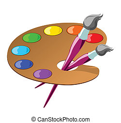 Vector color illustration of paintbrushes and a palette with basic colors.