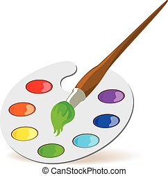 Palette and paintbrush
