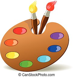 Palette and paintbrushes