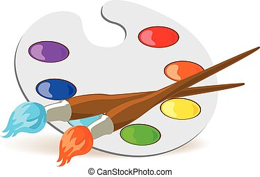 Palette and paintbrushes - Paintbrushes and palette with...
