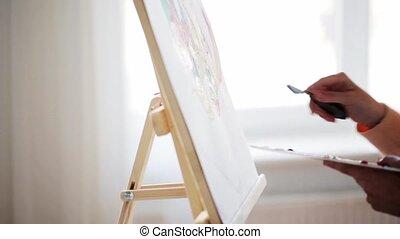 palette, art, artiste, studio, couteau à peindre