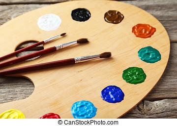 palette,  art, bois, peintures, gris, fond