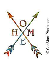 palette, artiste, tribal, signe, flèche, maison