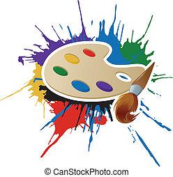 palette, bürste, farbe