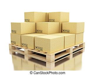 palette, boîtes, carton, expédition, 3d