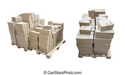palette, boîtes, carton, isolé