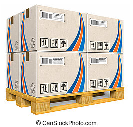 palette, boîtes, carton