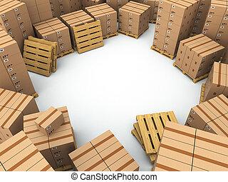 palette, boîtes, carton, storage.