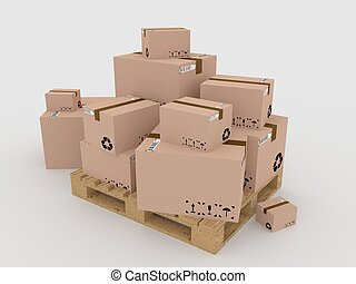 palette, boîtes, render, 3d