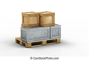 palette, bois, boîtes, métal, chargé, tailles, transport, différent, peu