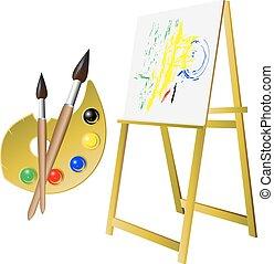 palette brush easel