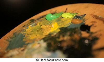 palette, closeup, artiste