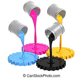 Conceptual image - palette CMYK. Objects over white