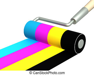 Palette CMYK - Platen painting with an bright paints